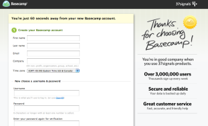 "The nice, personal-feeling ""Thanks for choosing Basecamp!"" is more effectively rendered in a handwritten style."